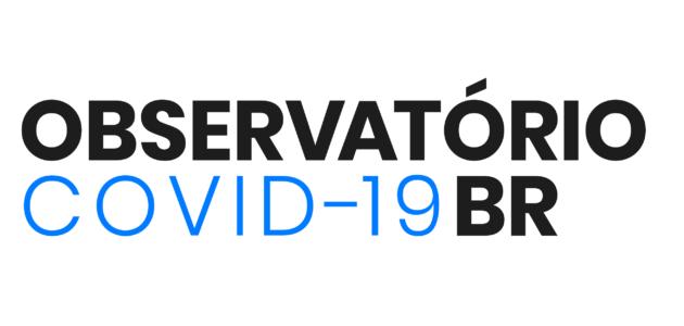 logo do observatório covid-19 BR todo em letras pretas com as palavra covid-19 destacada em azul