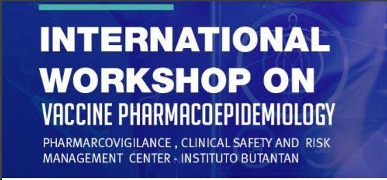 Banner digital em formato retangula. Fundo azul com o texto em fonte branca: International Workshop on vaccine pharmacoepidemiology.