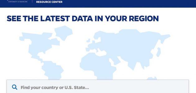 imagem do mapa do mundo com a chamada Veja os últimos dados em sua região