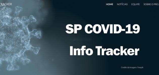 Banner de entrada no site SP Covid-19 Info Tracker com o título do site em branco sobre um fundo grafite e ao lado uma imagem do vírus em branco meio esfumaçada