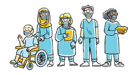 ilustração de equipe médica com máscaras e um paciente em cadeira de rodas