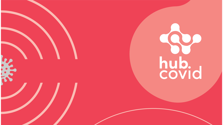 capa vermelha com imagem do covid-19 no canto esquerdo cercado por linhas formando círculos. No cato direito o logo do Hub Covid.